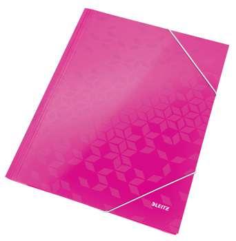 Desky tříchlopňové WOW A4 s gumičkou, růžová