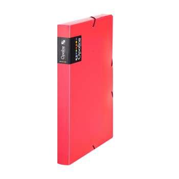 Plastový box  na spisy s gumičkou Opaline A4, transp. červená