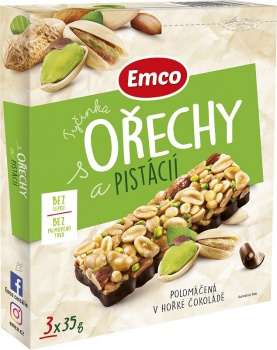 Tyčinka Emco s ořechy a pistácií, 3x 35g