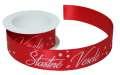 Vánoční látková stuha Šťastné a Veselé - červená, 2 m