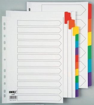 Rozlišovač Office Depot barevný zesílený - třídicí A4, 12 listů