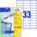 Univerzální etikety Avery Zweckform - bílé, 70 x 25,4 mm, 3 300 ks