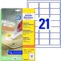 Snímatelné etikety Avery Zweckform - bílá, 63,5 x 38,1 mm, 525 ks