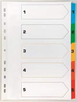 Rejstřík Office Depot zesílený barevný A4 MAXI, přepisovatelný, 1-5