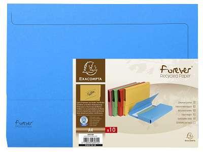 Papírové desky na dokumenty Exacompta - A4, hřbet až 3,2 cm, modré, 10 ks