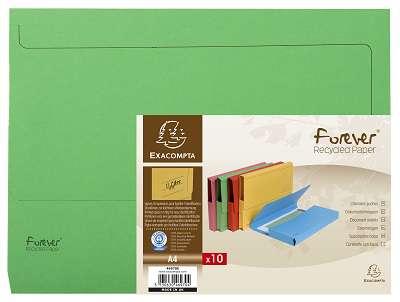 Papírové desky na dokumenty Exacompta - A4, hřbet až 3,2 cm, zelená, 10 ks