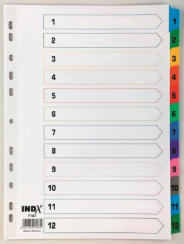 Rejstřík Office Depot zesílený barevný A4 MAXI, přepisovatelný, 1-12