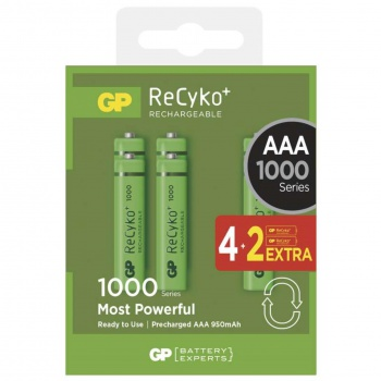 Baterie GP Recyko 1,2 V, HR03, 4+2 ks