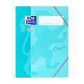 Desky s chlopněmi a gumičkou Soft touch A4 -tyrkysová