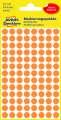 Kulaté etikety Avery Zweckform - neon oranžové, průměr 8 mm, 416 ks