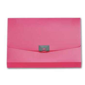 Desky na spisy s klipem Office Depot - A4, hřbet 2,5 cm, růžové transparentní