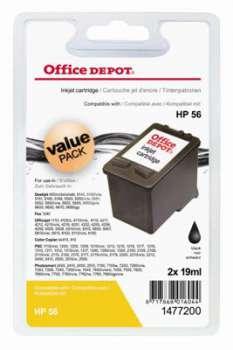 Cartridge Office Depot HP C6656A/2x56 - černá, dvojbalení