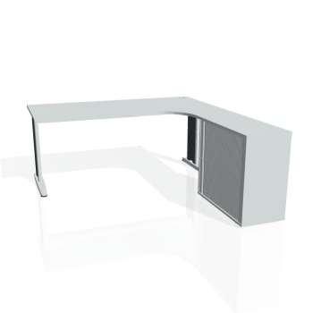 Psací stůl Hobis Flex FE 1800 HR L - šedá/kov