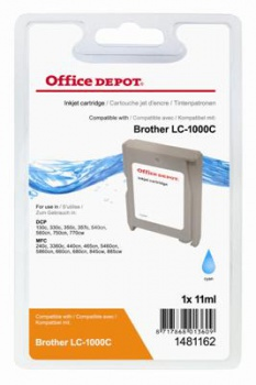 Cartridge Office Depot Brother LC1000C - azurová
