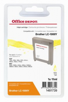 Cartridge Office Depot Brother LC1000CY - žlutá
