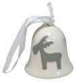Keramický zvonek se sobem, bílo-šedá