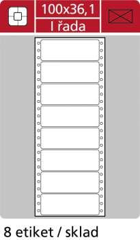 Samolepicí tabelační etikety SK Label - jednořadé, 100,0 x 36,1mm, 200 ks