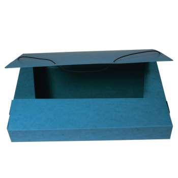 Box prešpánový na spisy s gumičkou A4, modrý
