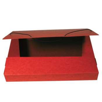Box prešpánový na spisy s gumičkou A4, červený