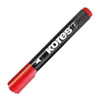 Permanentní popisovač Kores - červená , kulatý hrot