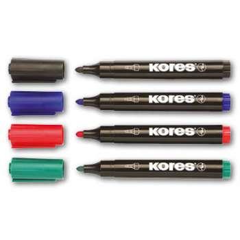 Permanentní popisovač Kores - 4 barvy, kulatý hrot