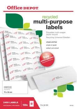 Samolepicí etikety recyklované - 70,0 x 36,0 mm, 2400 ks