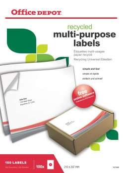 Samolepicí etikety recyklované - 210,0 x 297,0 mm, 100ks