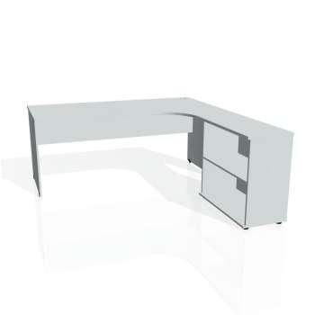 Psací stůl Hobis GATE GE 1800 H levý, šedá/šedá