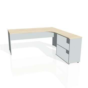 Psací stůl Hobis GATE GE 1800 H levý, akát/šedá