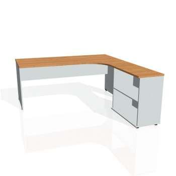 Psací stůl Hobis GATE GE 1800 H levý, olše/šedá