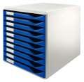 Box zásuvkový Leitz, 10 zásuvek, modrá/šedá