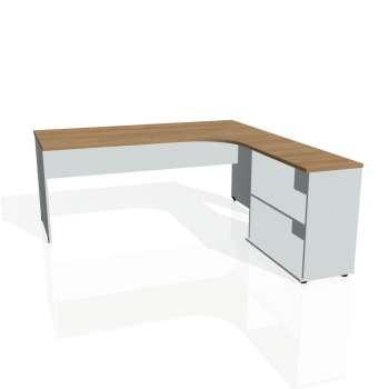 Psací stůl Hobis GATE GE 1800 H levý, višeň/šedá