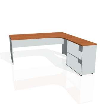 Psací stůl Hobis GATE GE 1800 H levý, třešeň/šedá