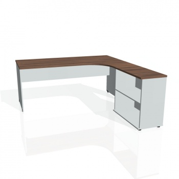 Psací stůl Hobis GATE GE 1800 H levý, ořech/šedá