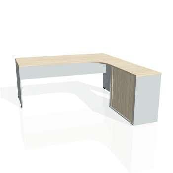 Psací stůl Hobis GATE GE 1800 HR levý, akát/šedá