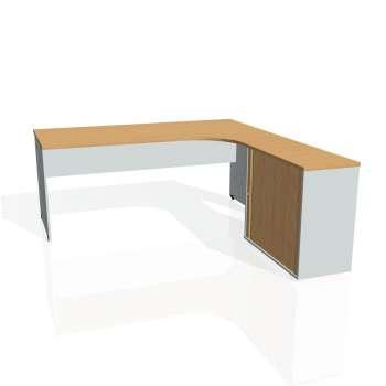Psací stůl Hobis GATE GE 1800 HR levý, buk/šedá