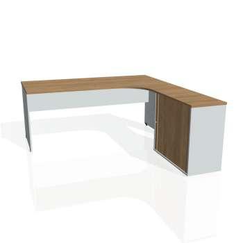 Psací stůl Hobis GATE GE 1800 HR levý, višeň/šedá