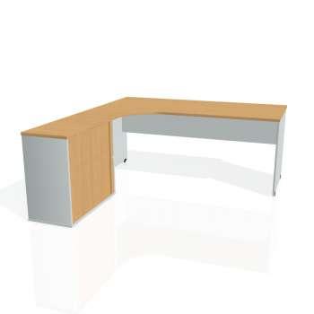 Psací stůl Hobis GATE GE 1800 HR pravý, buk/šedá