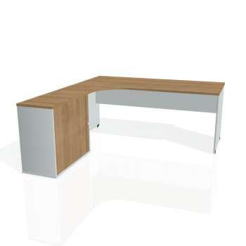 Psací stůl Hobis GATE GE 1800 HR pravý, višeň/šedá