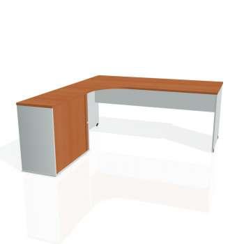 Psací stůl Hobis GATE GE 1800 HR pravý, třešeň/šedá