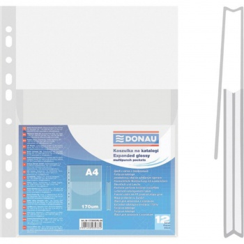 Závěsné obaly na katalogy Donau - A4, s chlopní, hladké, 12 ks