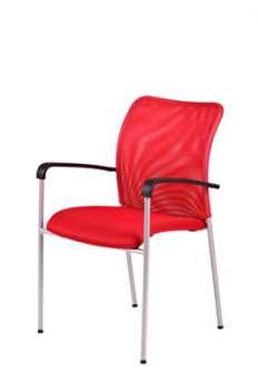 Konferenční židle Duell s područkami, červená