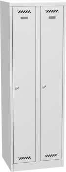 Kovová šatní skříň - uzamykatelná, dvoudveřová, šedá