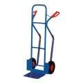 Rudl s plastovými lyžinami - ocelový, modrý, nosnost 250 kg