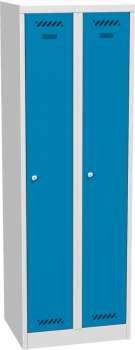 Kovová šatní skříň - uzamykatelná, dvoudveřová, modrá