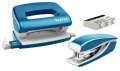 Sada mini sešívačky a děrovačky Leitz WOW - metalicky modrá