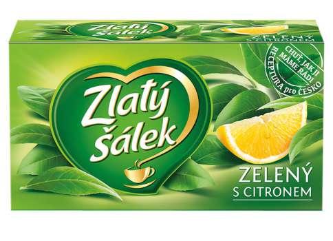 Čaj Zlatý šálek Zelený s citronem, 20 x 1,75 g