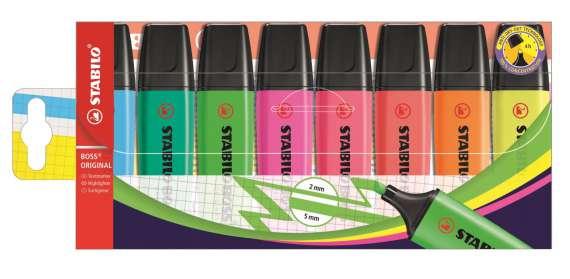 Zvýrazňovač Stabilo Boss original, sada 8 barev
