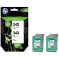 Cartridge HP CB332EE/2x343 - 3 barvy , dvojbalení