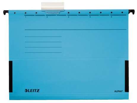 Desky závěsné Leitz Alpha s bočnicemi modré, 25 ks